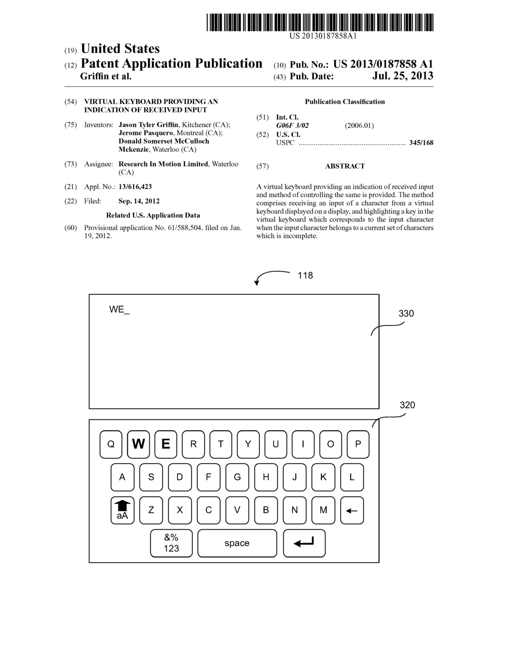 VIRTUAL KEYBOARD PROVIDING AN INDICATION OF RECEIVED INPUT - diagram, schematic, and image 01
