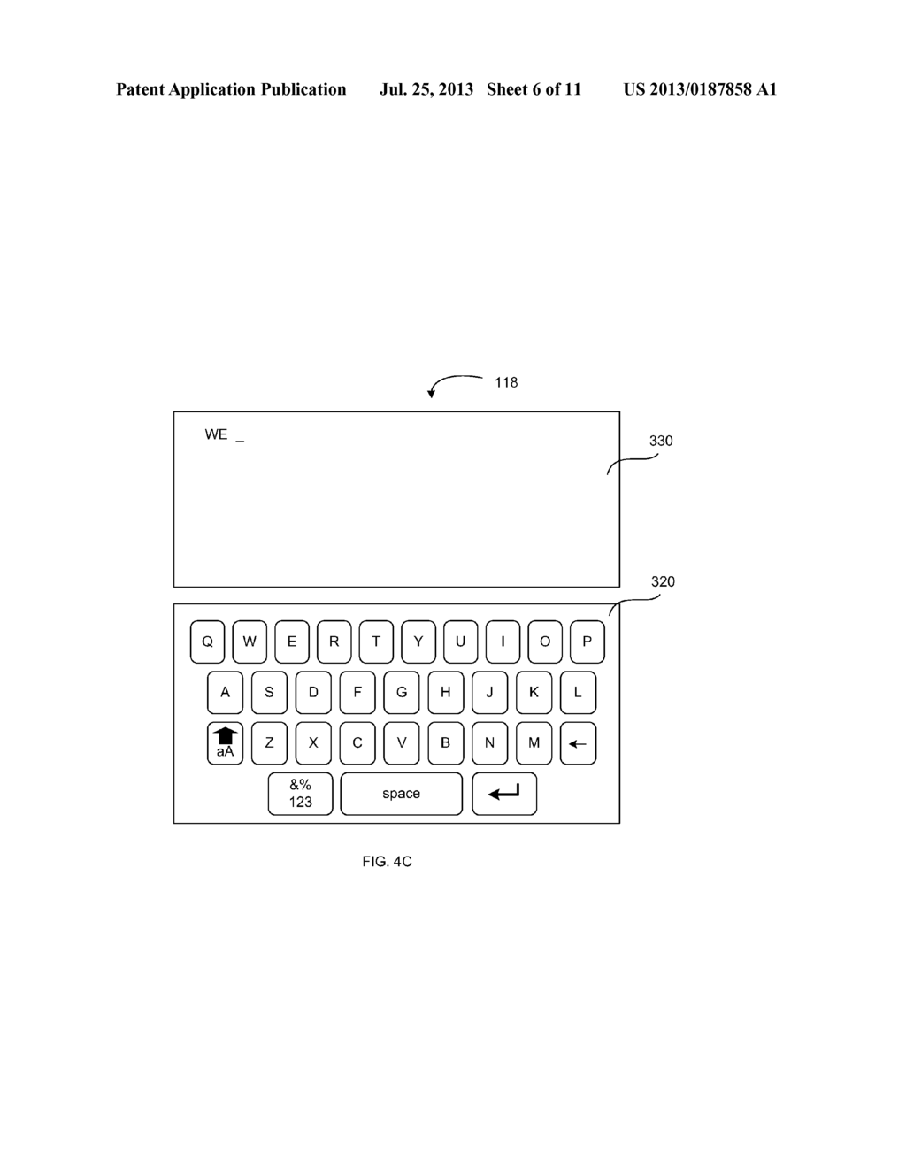VIRTUAL KEYBOARD PROVIDING AN INDICATION OF RECEIVED INPUT - diagram, schematic, and image 07