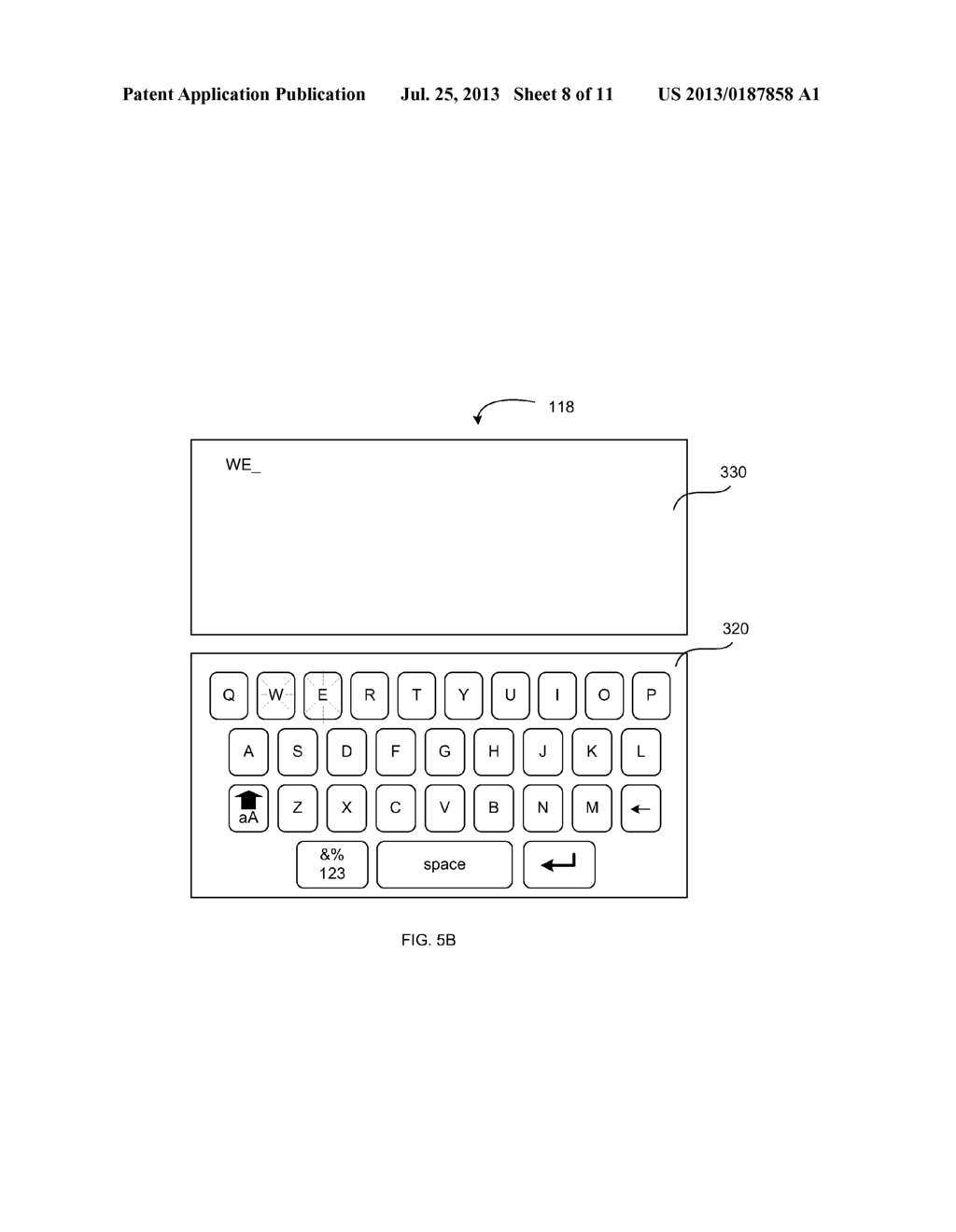 VIRTUAL KEYBOARD PROVIDING AN INDICATION OF RECEIVED INPUT - diagram, schematic, and image 09