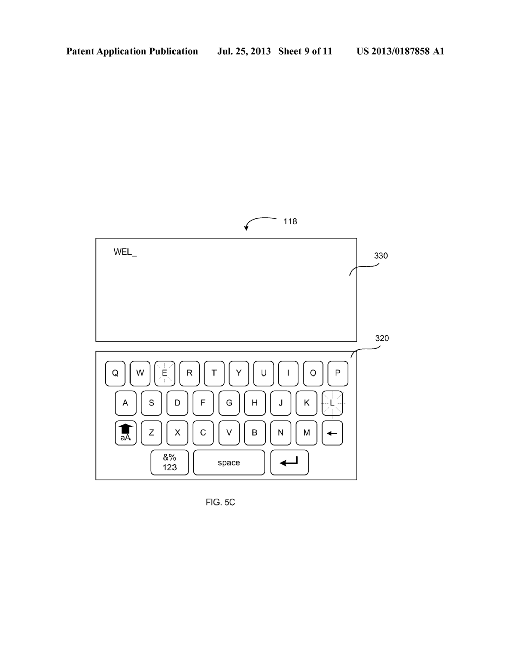 VIRTUAL KEYBOARD PROVIDING AN INDICATION OF RECEIVED INPUT - diagram, schematic, and image 10