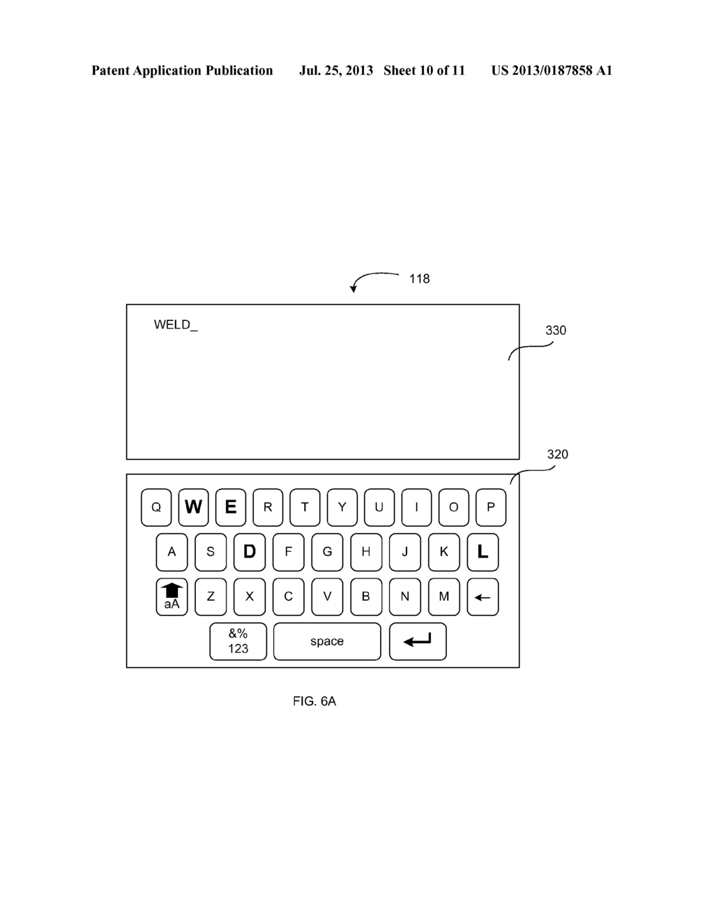 VIRTUAL KEYBOARD PROVIDING AN INDICATION OF RECEIVED INPUT - diagram, schematic, and image 11