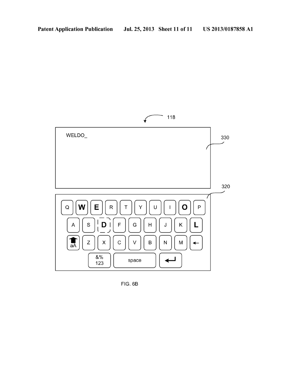 VIRTUAL KEYBOARD PROVIDING AN INDICATION OF RECEIVED INPUT - diagram, schematic, and image 12