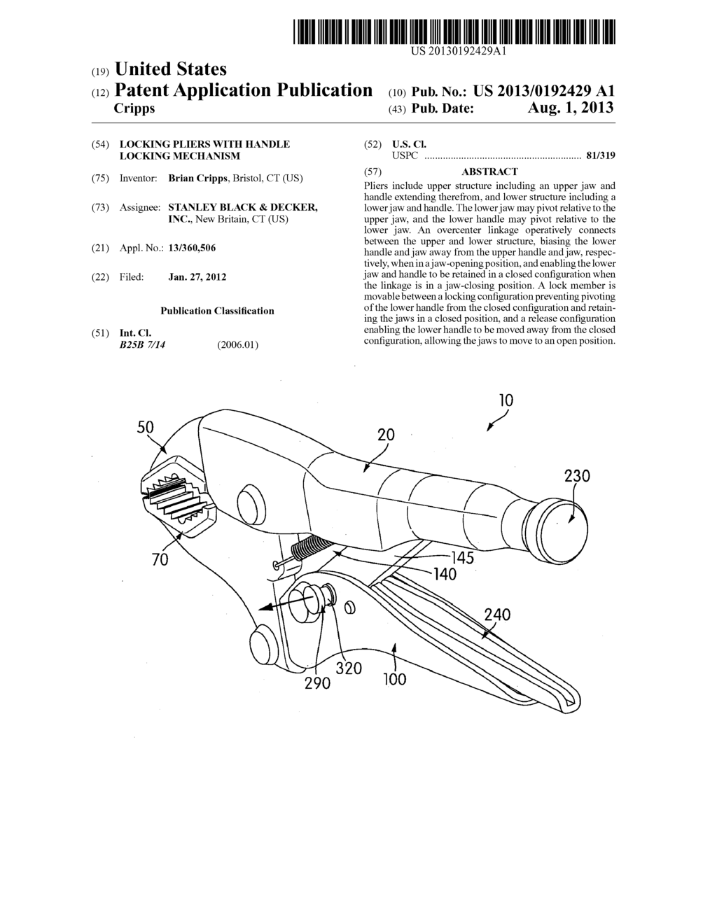 locking pliers with handle locking mechanism - diagram, schematic, and  image 01