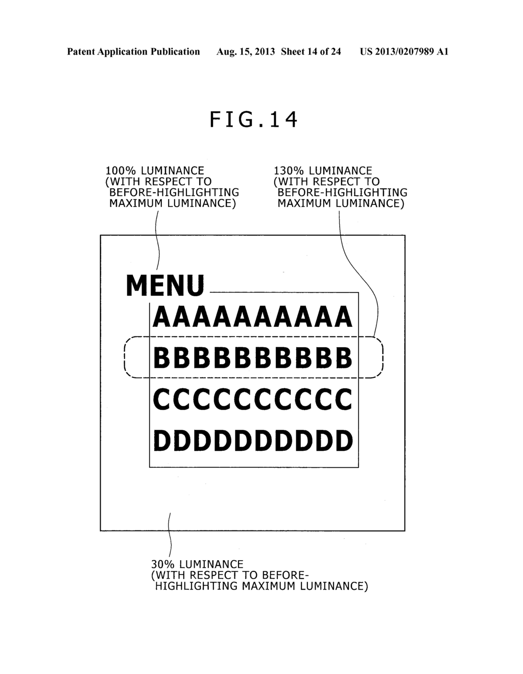 CHARACTER HIGHLIGHTING CONTROL APPARATUS, DISPLAY APPARATUS, HIGHLIGHTING     DISPLAY CONTROL METHOD, AND COMPUTER PROGRAM - diagram, schematic, and image 15