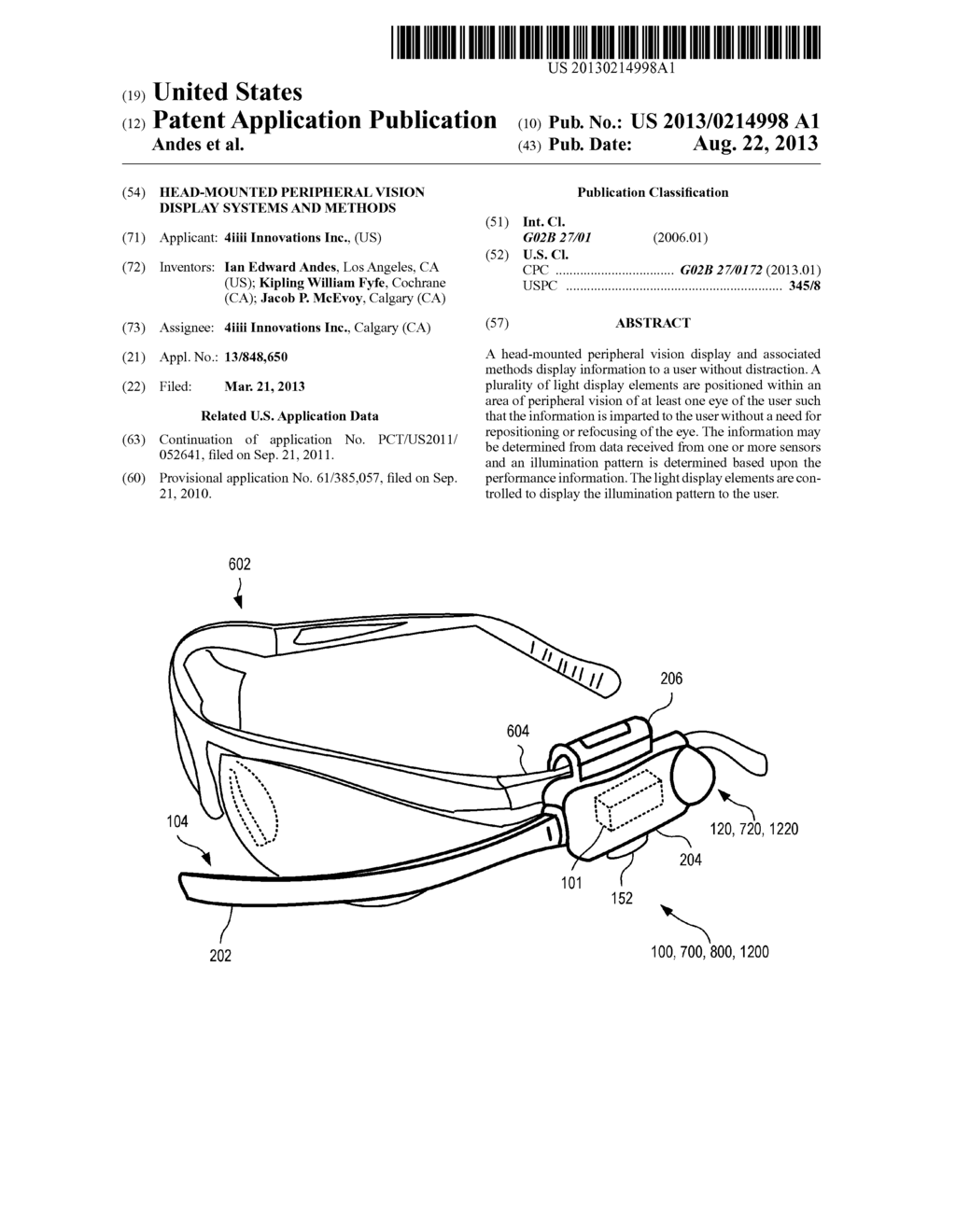 Head-Mounted Peripheral Vision Display Systems And Methods - diagram, schematic, and image 01