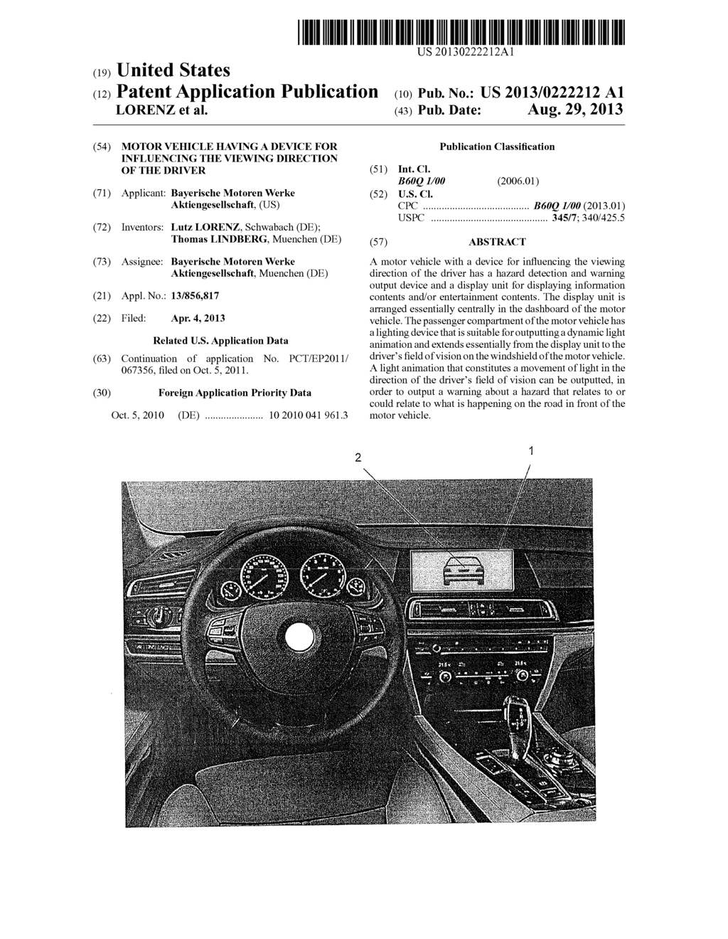 Motor Vehicle Having a Device for Influencing the Viewing Direction of the     Driver - diagram, schematic, and image 01
