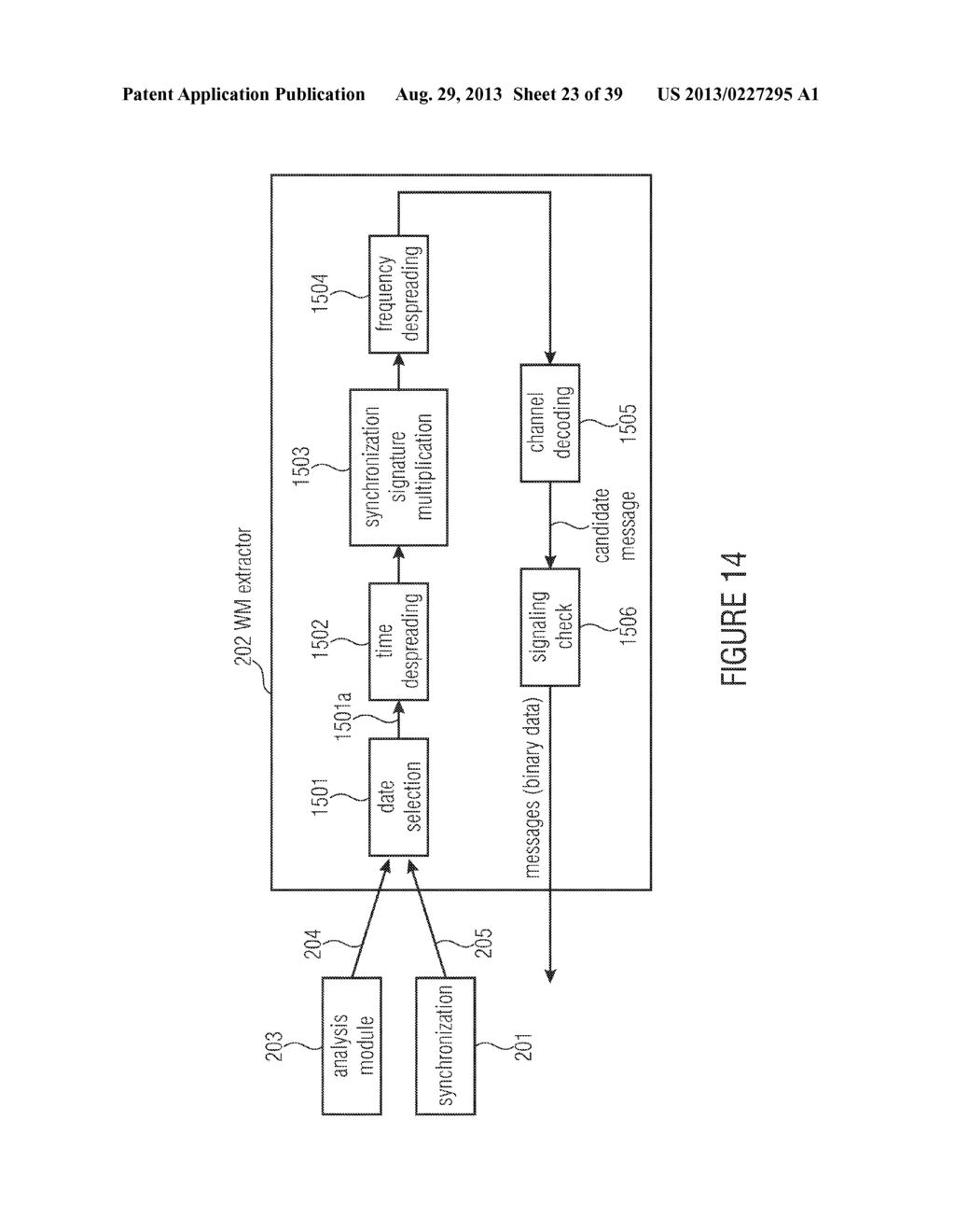 WATERMARK GENERATOR, WATERMARK DECODER, METHOD FOR PROVIDING A WATERMARK     SIGNAL IN DEPENDENCE ON BINARY MESSAGE DATA, METHOD FOR PROVIDING BINARY     MESSAGE DATA IN DEPENDENCE ON A WATERMARKED SIGNAL AND COMPUTER PROGRAM     USING A DIFFERENTIAL ENCODING - diagram, schematic, and image 24