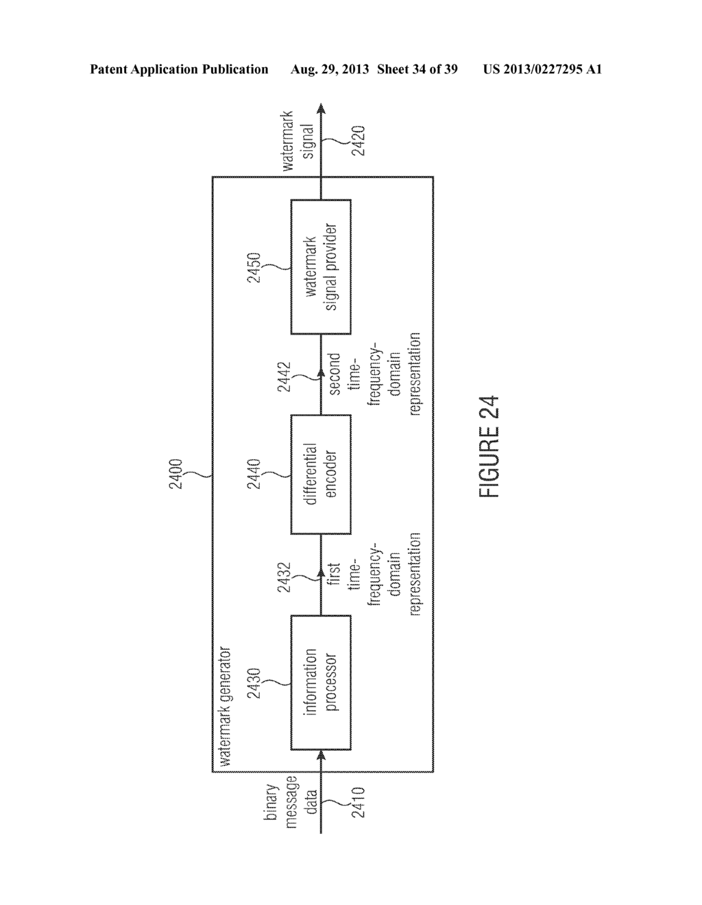 WATERMARK GENERATOR, WATERMARK DECODER, METHOD FOR PROVIDING A WATERMARK     SIGNAL IN DEPENDENCE ON BINARY MESSAGE DATA, METHOD FOR PROVIDING BINARY     MESSAGE DATA IN DEPENDENCE ON A WATERMARKED SIGNAL AND COMPUTER PROGRAM     USING A DIFFERENTIAL ENCODING - diagram, schematic, and image 35