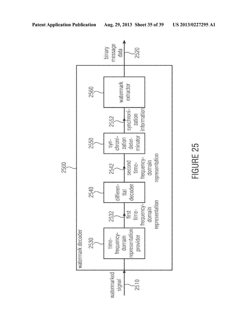 WATERMARK GENERATOR, WATERMARK DECODER, METHOD FOR PROVIDING A WATERMARK     SIGNAL IN DEPENDENCE ON BINARY MESSAGE DATA, METHOD FOR PROVIDING BINARY     MESSAGE DATA IN DEPENDENCE ON A WATERMARKED SIGNAL AND COMPUTER PROGRAM     USING A DIFFERENTIAL ENCODING - diagram, schematic, and image 36
