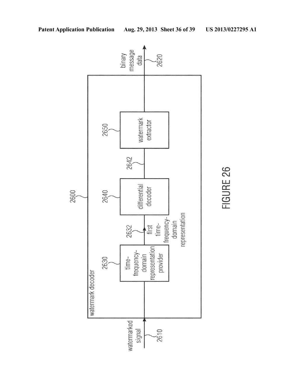 WATERMARK GENERATOR, WATERMARK DECODER, METHOD FOR PROVIDING A WATERMARK     SIGNAL IN DEPENDENCE ON BINARY MESSAGE DATA, METHOD FOR PROVIDING BINARY     MESSAGE DATA IN DEPENDENCE ON A WATERMARKED SIGNAL AND COMPUTER PROGRAM     USING A DIFFERENTIAL ENCODING - diagram, schematic, and image 37