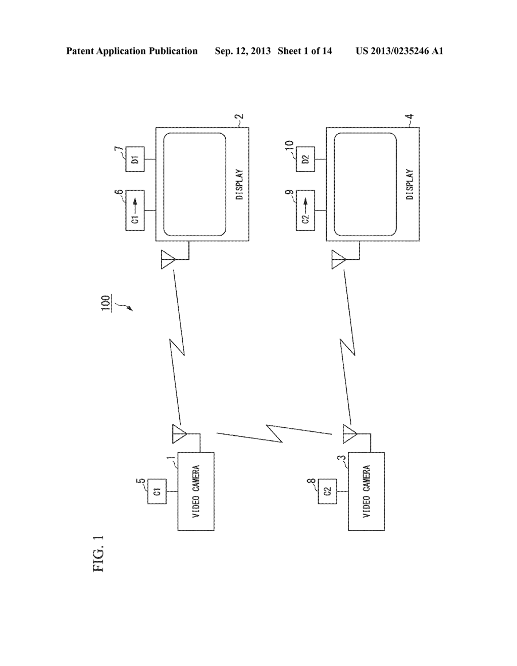 DISPLAY DEVICE, TRANSMITTING TERMINAL, RECEIVING TERMINAL AND WIRELESS     COMMUNICATION SYSTEM - diagram, schematic, and image 02