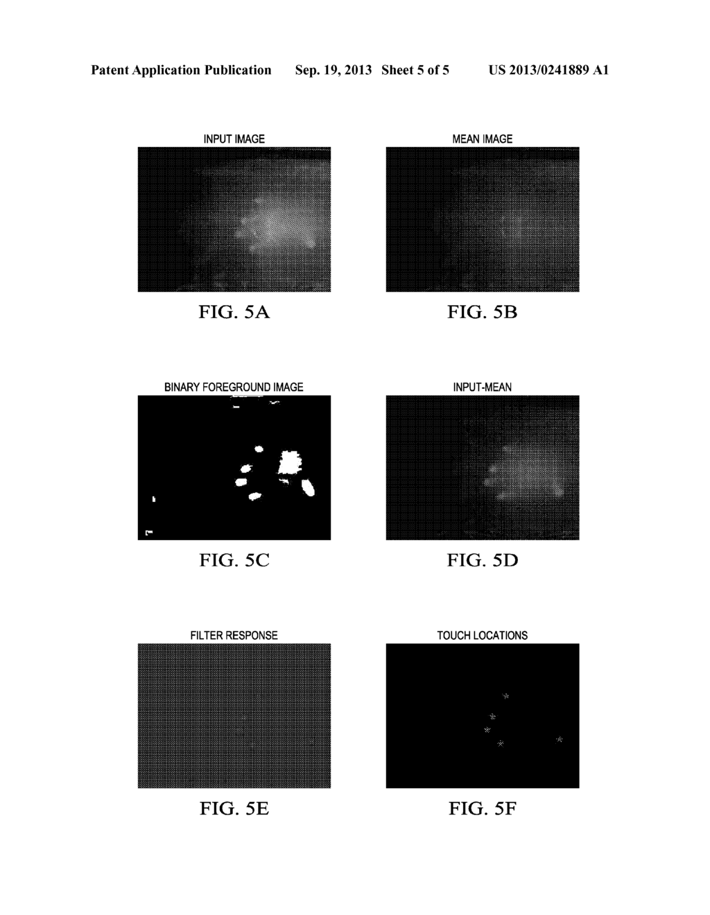 Detecting and Tracking Touch on an Illuminated Surface Using a     Mean-Subtracted Image - diagram, schematic, and image 06