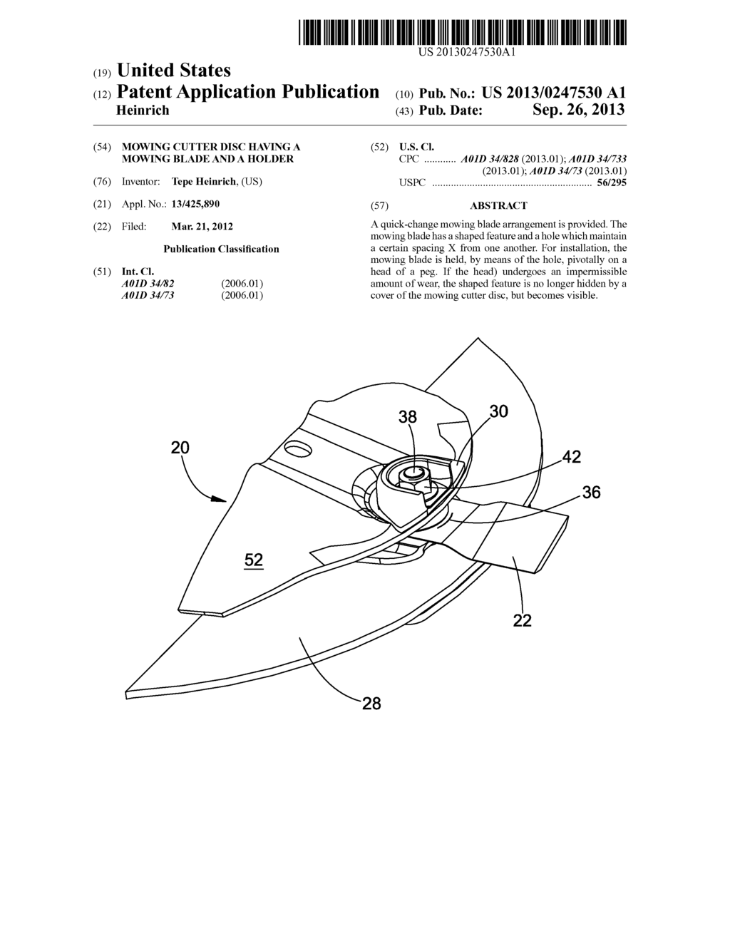 Mowing Cutter Disc Having A Mowing Blade And A Holder - diagram, schematic, and image 01