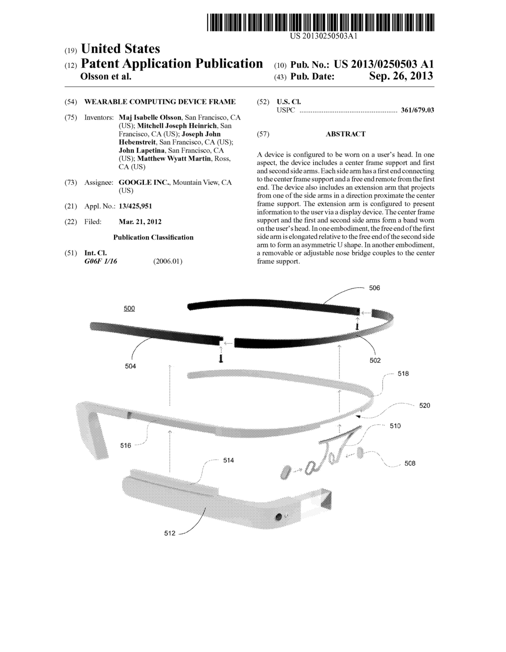 WEARABLE COMPUTING DEVICE FRAME - diagram, schematic, and image 01