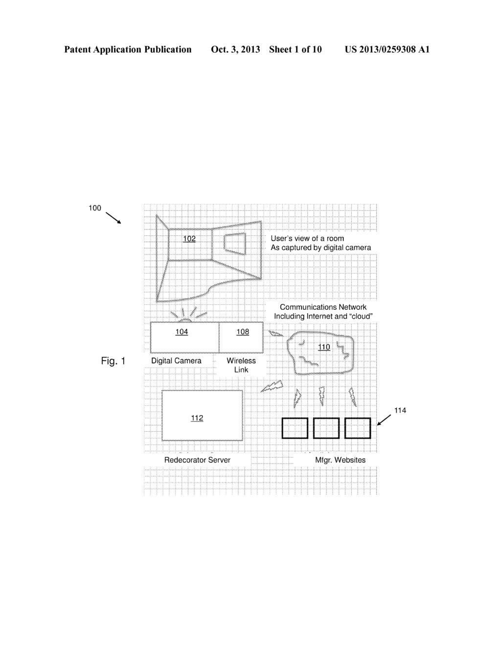 SYSTEM AND METHOD OF ROOM DECORATION FOR USE WITH A MOBILE DEVICE - diagram, schematic, and image 02
