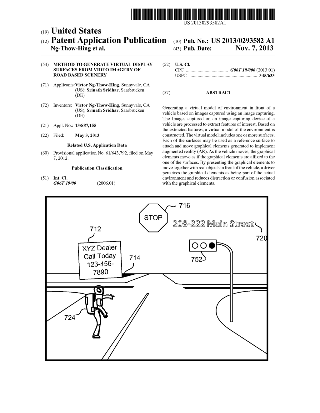 METHOD TO GENERATE VIRTUAL DISPLAY SURFACES FROM VIDEO IMAGERY OF ROAD     BASED SCENERY - diagram, schematic, and image 01
