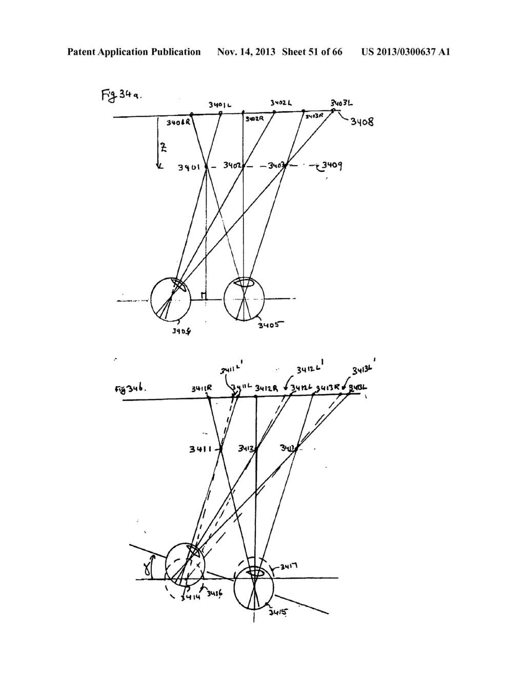 SYSTEM AND METHOD FOR 3-D PROJECTION AND ENHANCEMENTS FOR INTERACTIVITY - diagram, schematic, and image 52