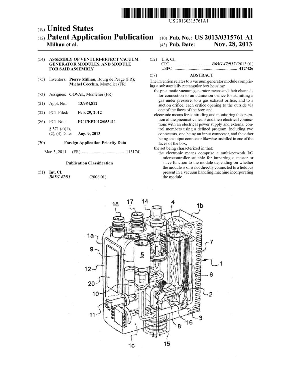 assembly of venturi effect vacuum generator modules and module for
