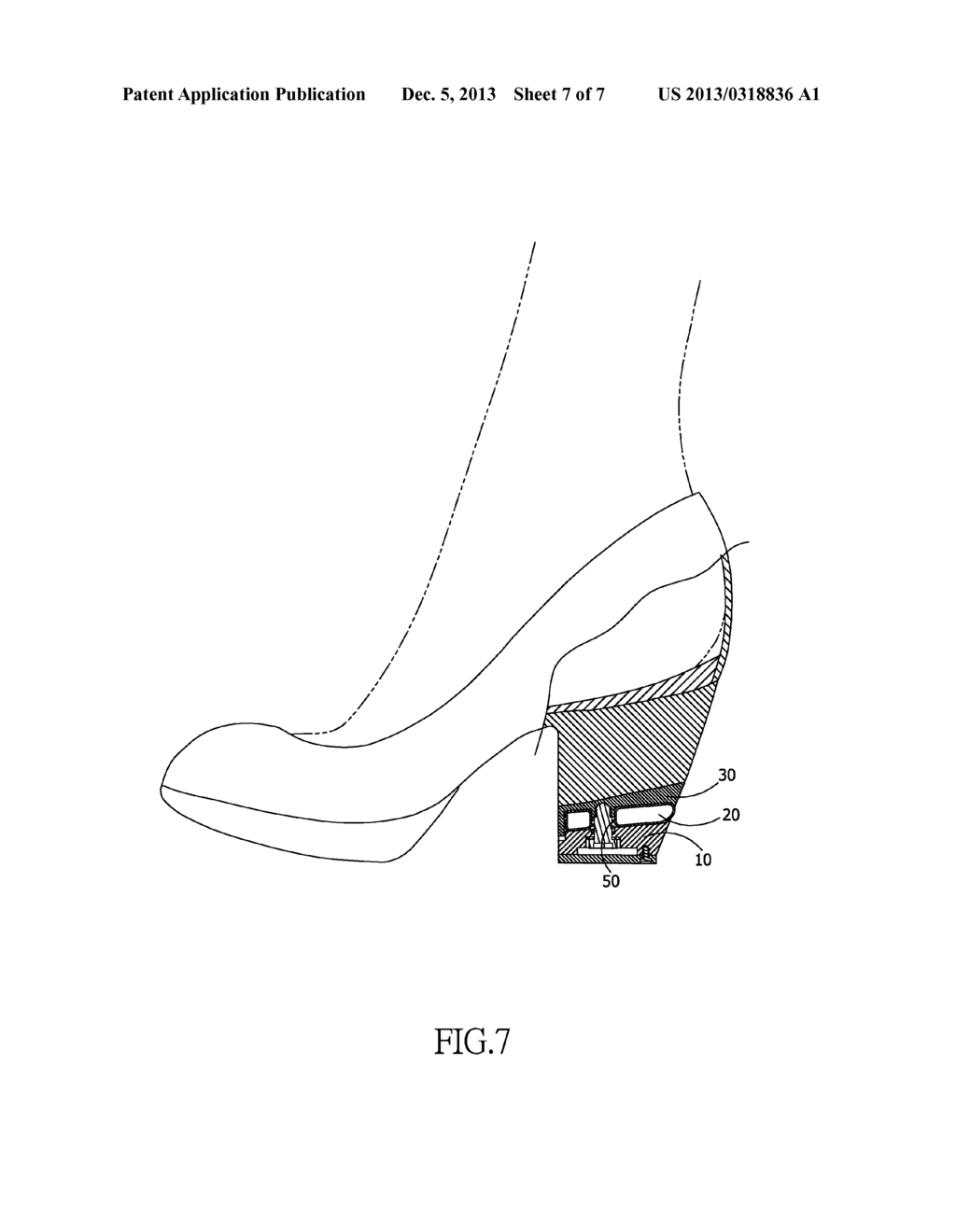 shock absorbing structure for the heel of high-heeled footwear - diagram,  schematic, and image 08
