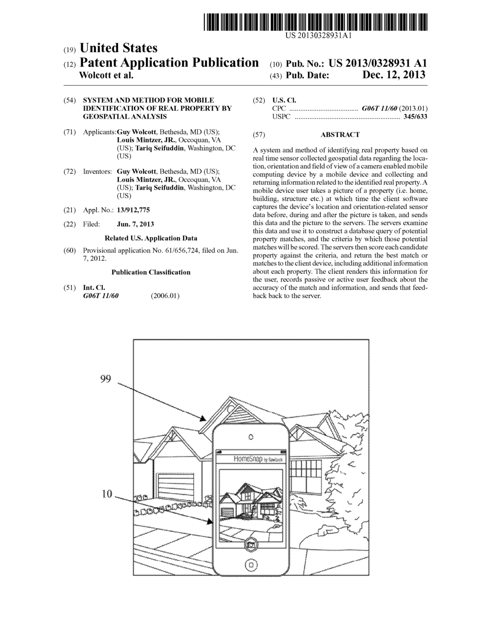 System and Method for Mobile Identification of Real Property by Geospatial     Analysis - diagram, schematic, and image 01