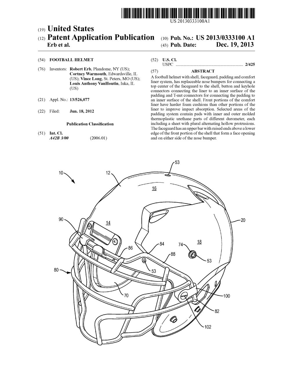 football helmet diagram schematic and image 01 rh patentsencyclopedia com