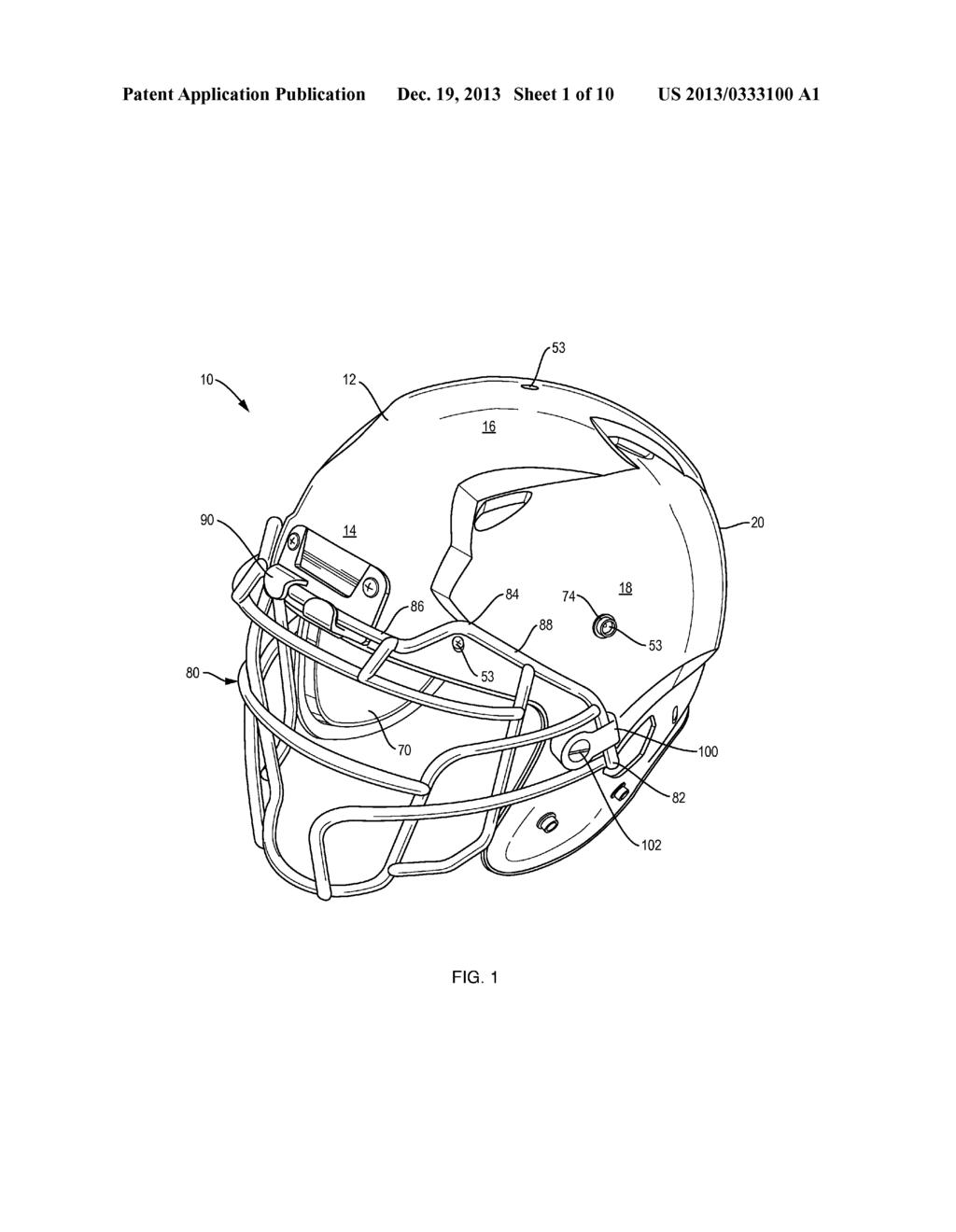 football helmet diagram schematic and image 02 rh patentsencyclopedia com