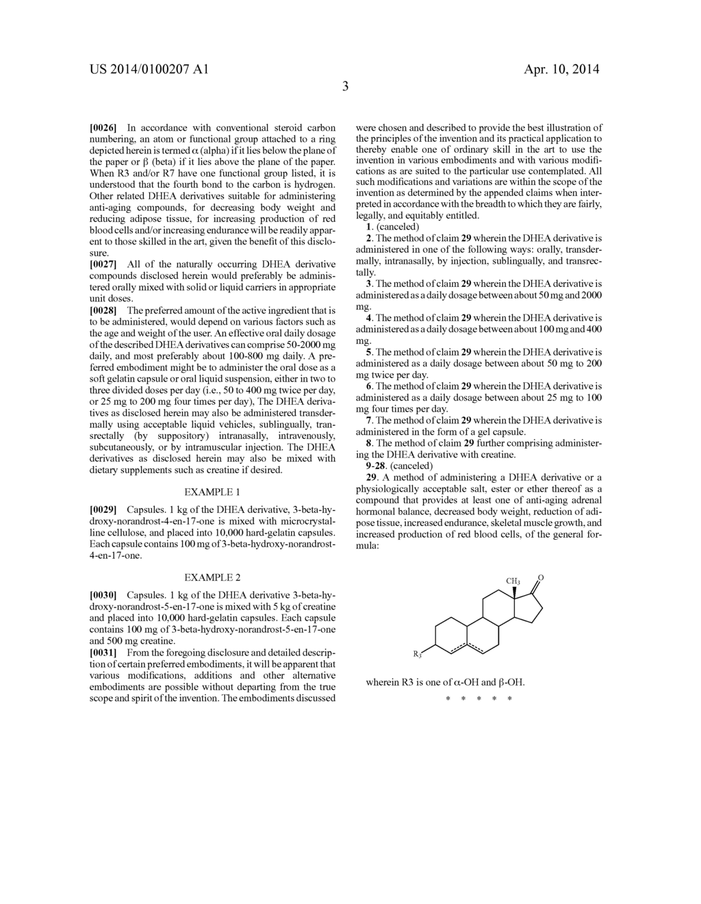 USE OF 19 NOR DHEA DERIVATIVES FOR ENHANCING PHYSICAL PERFORMANCE - diagram, schematic, and image 04