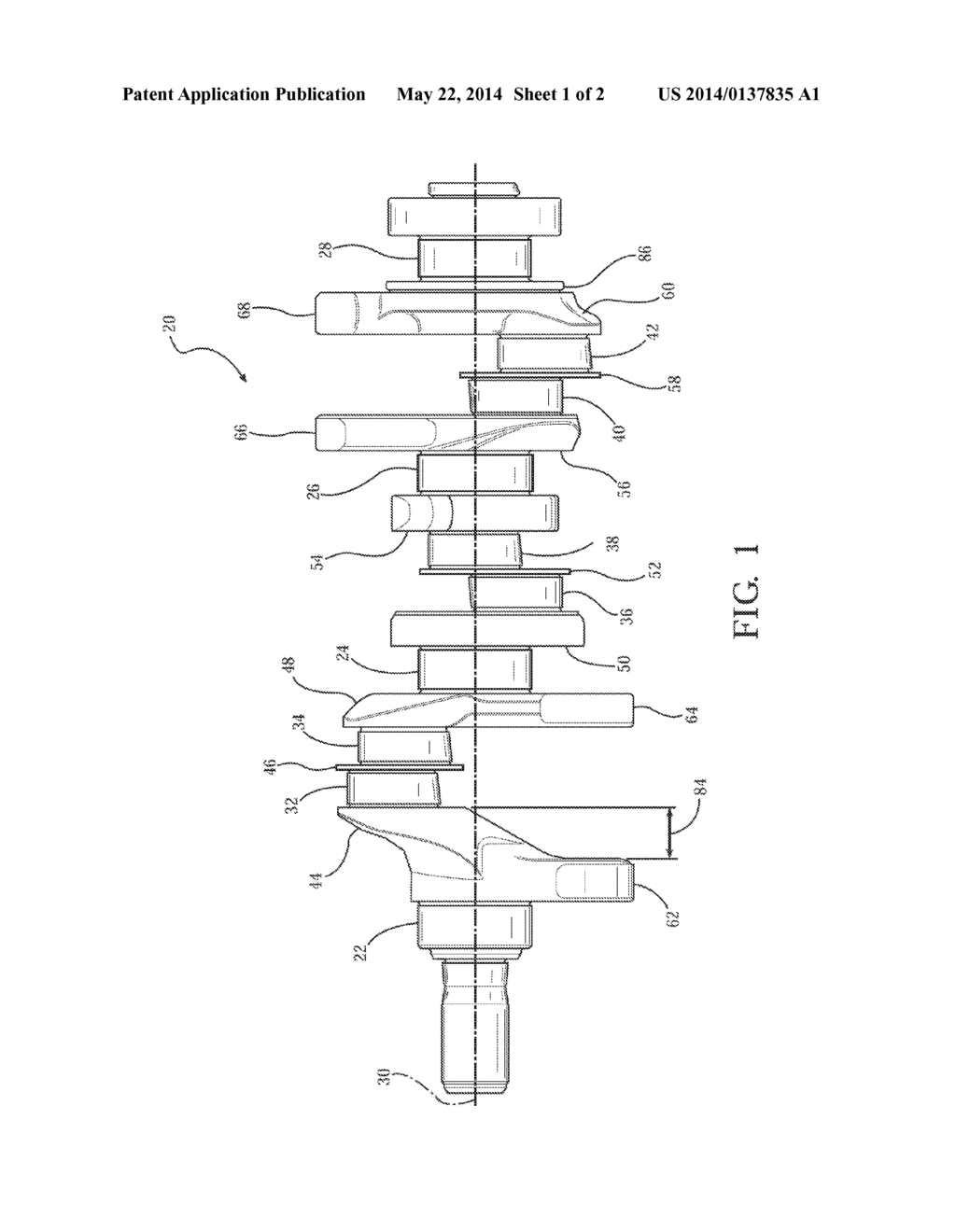 four counterweight crankshaft for 90 degree v6 engine - diagram, schematic,  and image 02