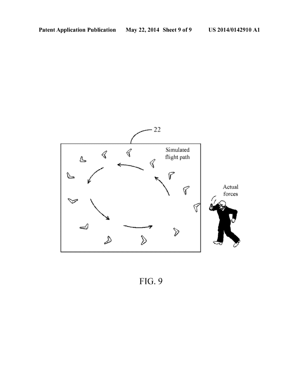 Handheld Device And Method For Simulating Flight Path Of Boomerang