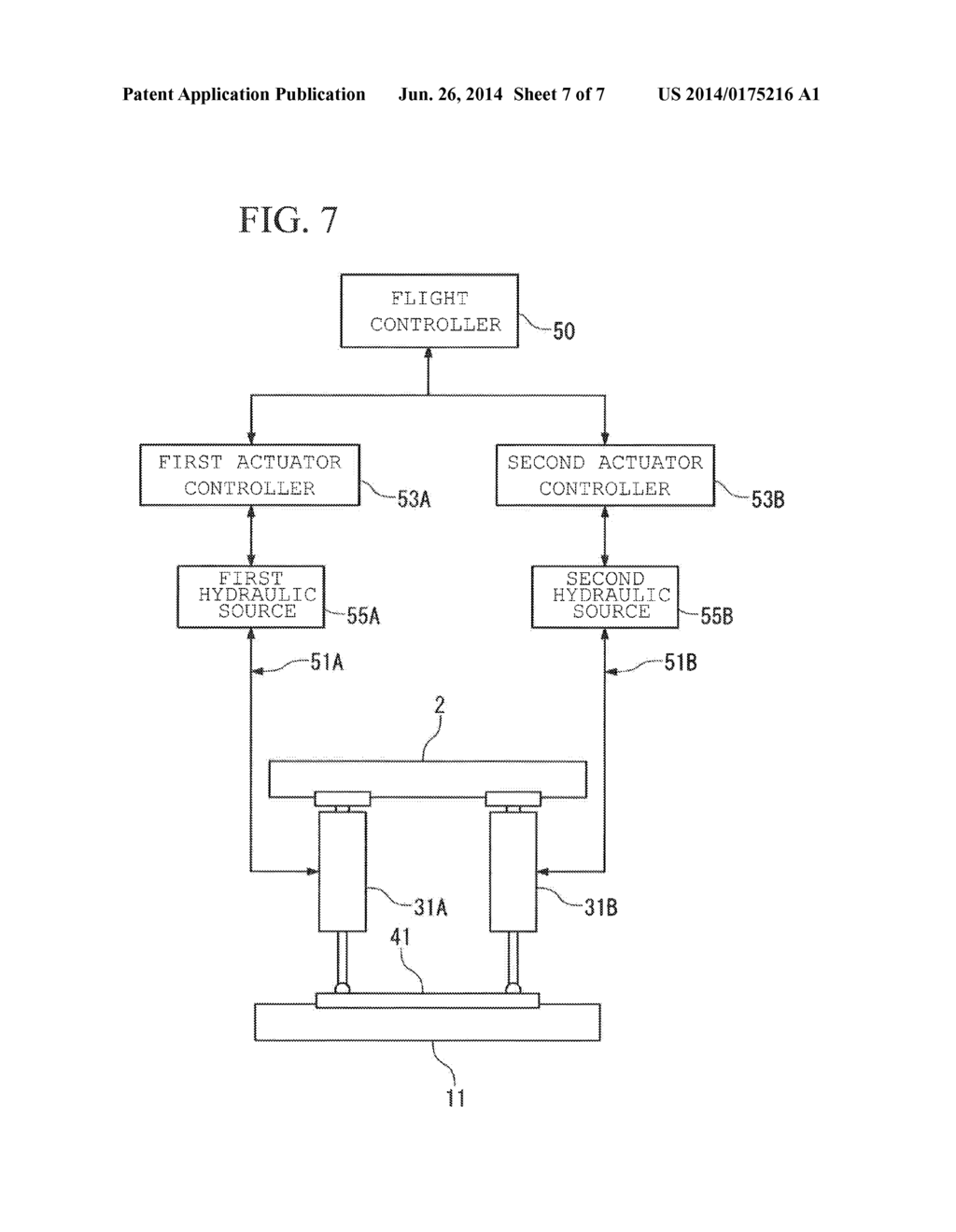 20140175216_08 actuator device for flight control surface, flight control surface