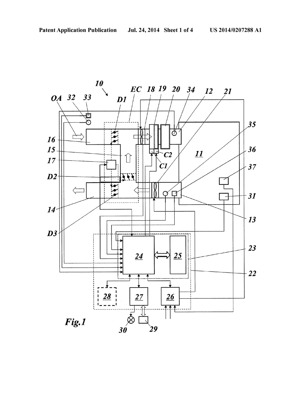 Control Unit For An Hvac System Comprising Economizer And Method Drawing Operating Such Diagram Schematic Image 02