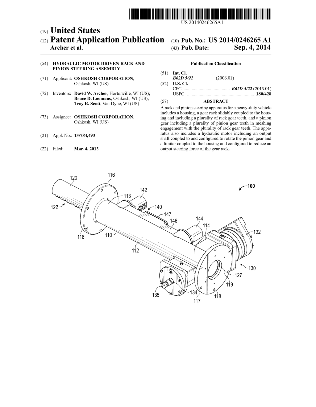 HYDRAULIC MOTOR DRIVEN RACK AND PINION STEERING EMBLY ... on