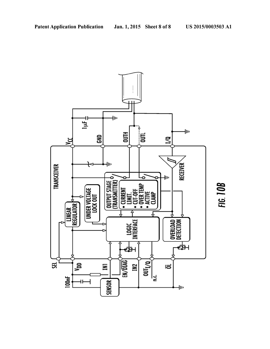 TRANSCEIVER SUITABLE FOR IO-LINK DEVICES AND RELATED IO-LINK DEVICE