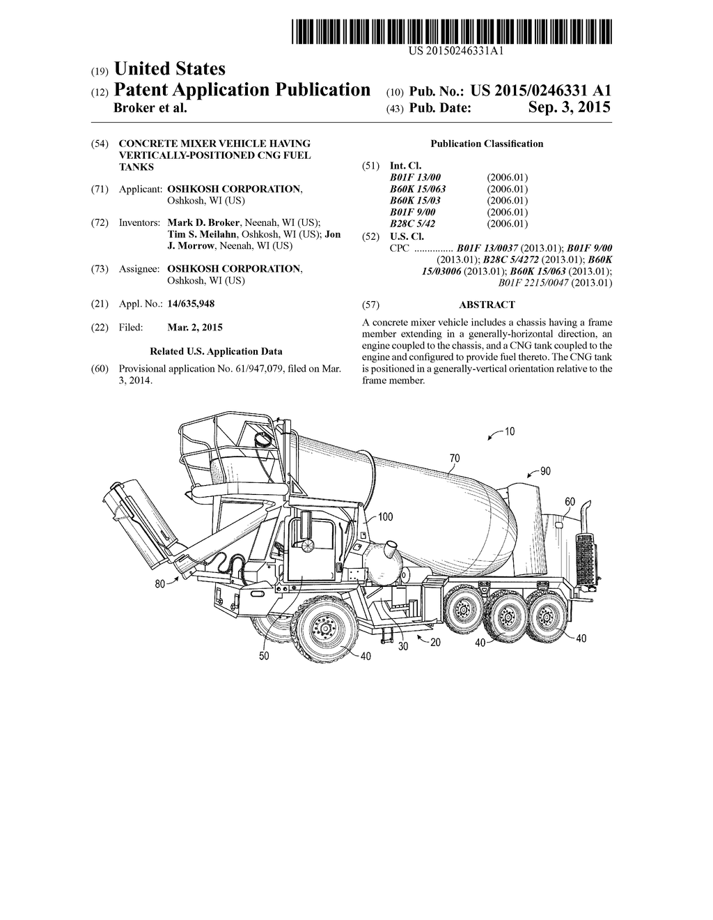 20150246331_01 concrete mixer vehicle having vertically positioned cng fuel tanks