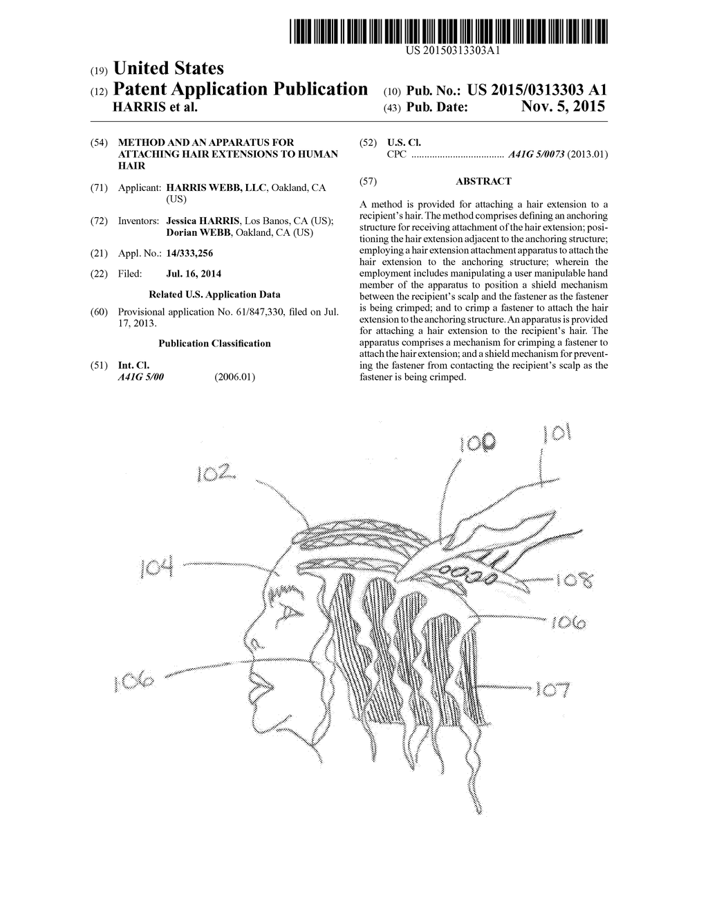 method and an apparatus for attaching hair extensions to human hair -  diagram, schematic, and image 01