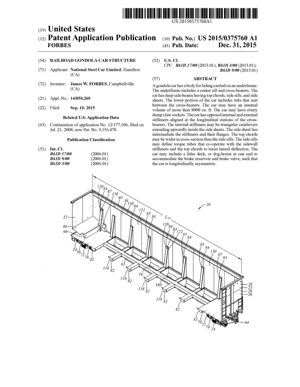 RAILROAD GONDOLA CAR STRUCTURE - diagram, schematic, and