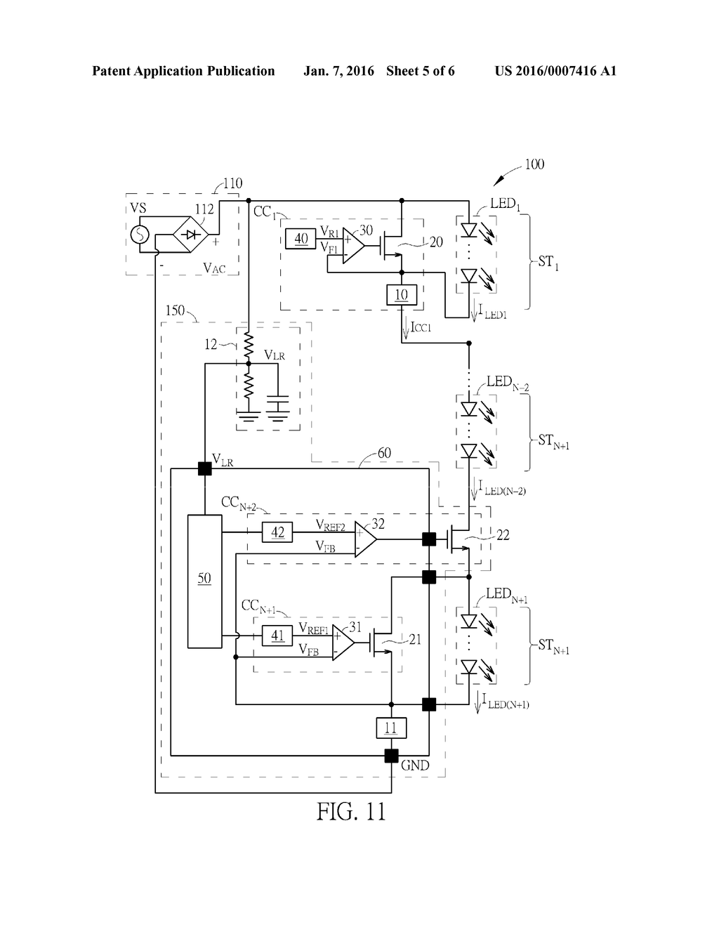 light emitting diode lighting device having multiple driving stages PN Diode light emitting diode lighting device having multiple driving stages and line load regulation control diagram schematic and image 06