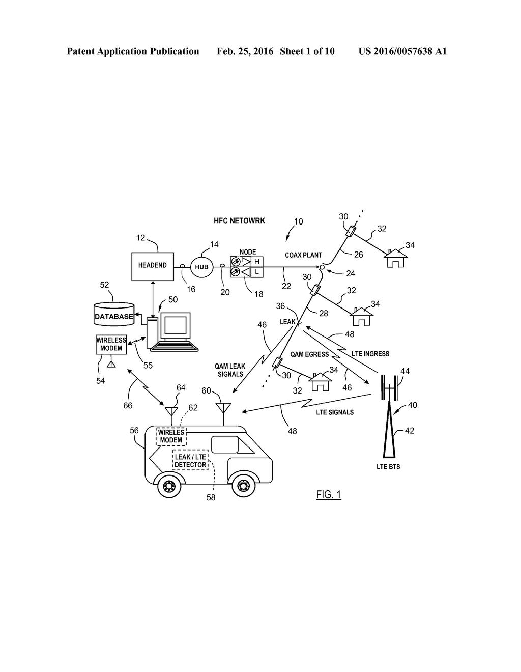 20160057638_02 prioritizing repair of signal leakage in an hfc network diagram