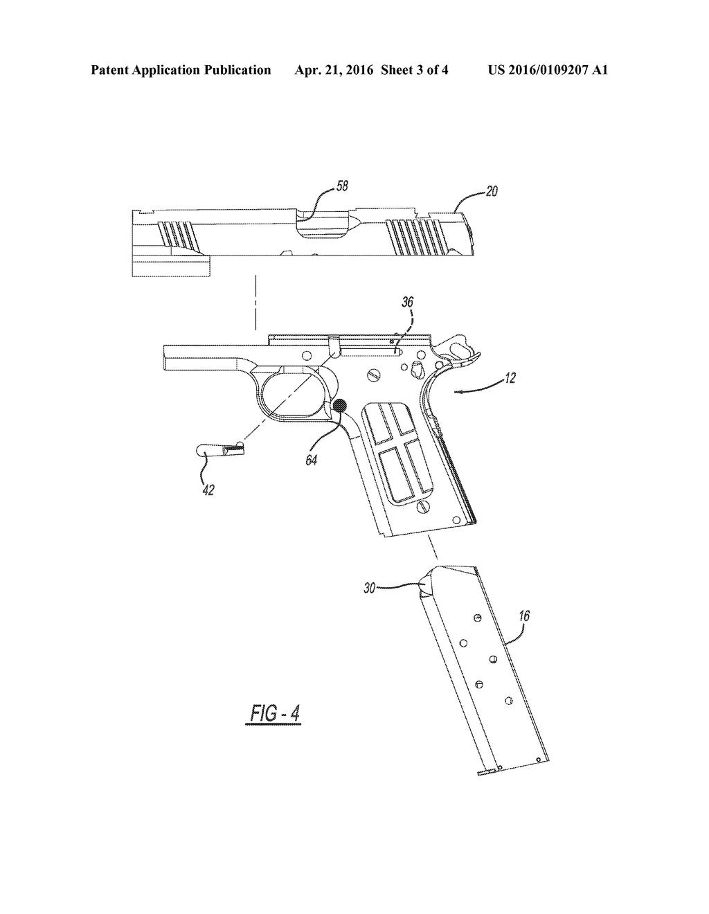 hybrid left handed 1911 pistol diagram schematic and image 04 rh patentsencyclopedia com 1911 pistol diagram of parts Exploded View of 1911 Pistol