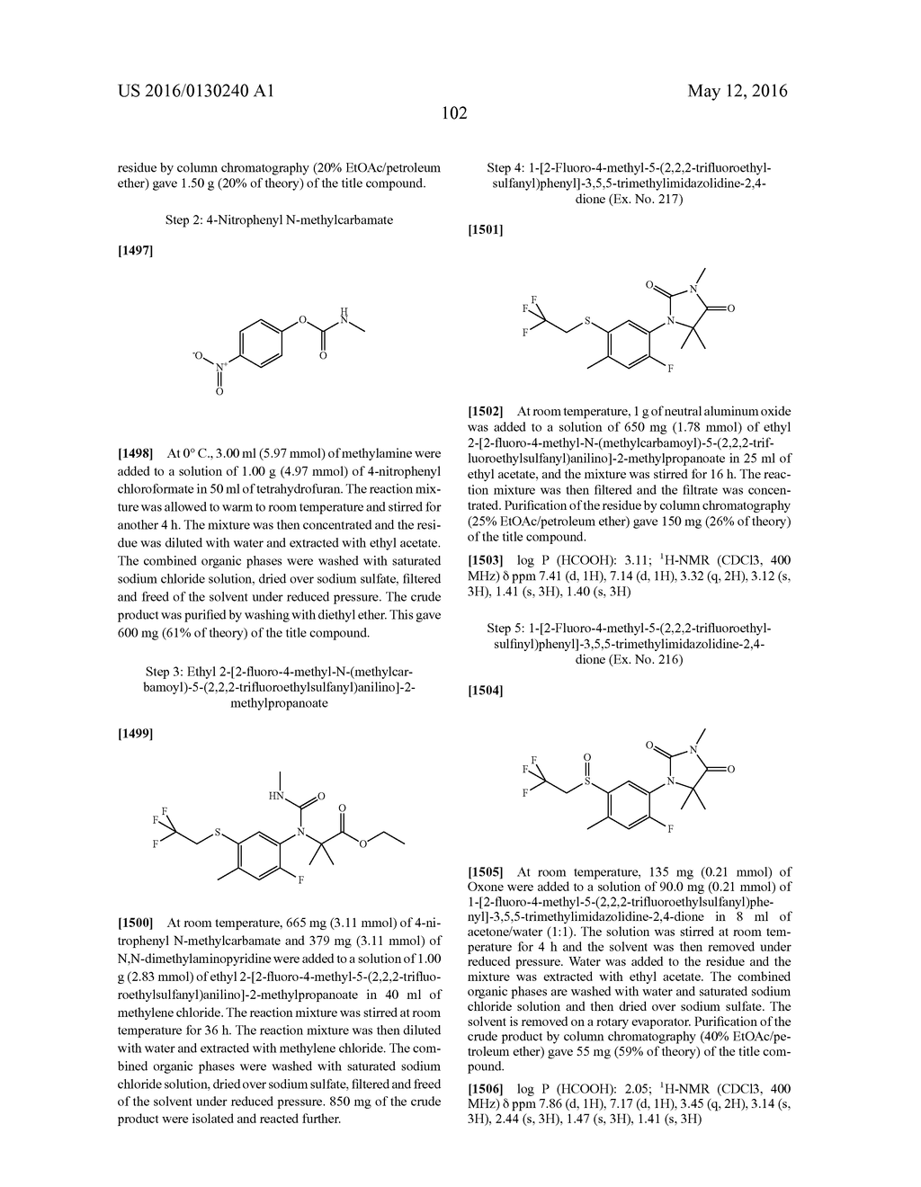 ARYL SULFIDE DERIVATIVES AND ARYL SULFOXIDE DERIVATIVES AS ACARICIDES AND     INSECTICIDES - diagram, schematic, and image 103