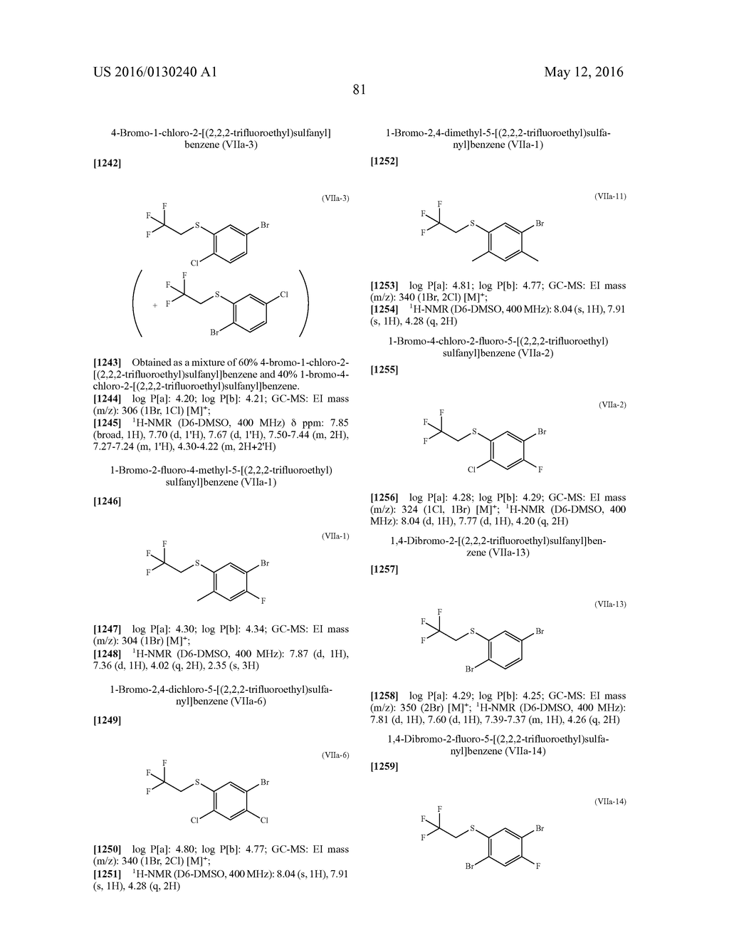 ARYL SULFIDE DERIVATIVES AND ARYL SULFOXIDE DERIVATIVES AS ACARICIDES AND     INSECTICIDES - diagram, schematic, and image 82