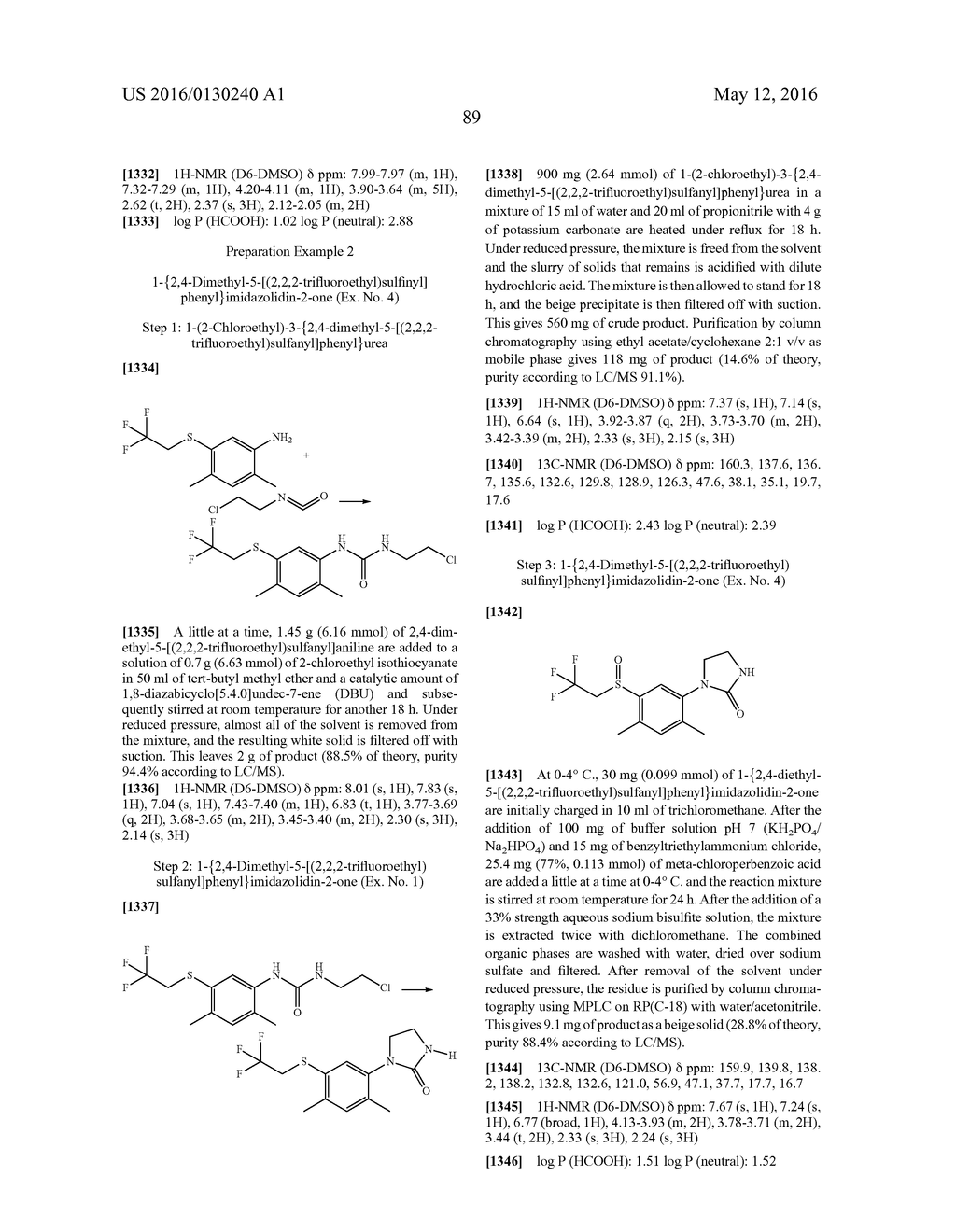 ARYL SULFIDE DERIVATIVES AND ARYL SULFOXIDE DERIVATIVES AS ACARICIDES AND     INSECTICIDES - diagram, schematic, and image 90