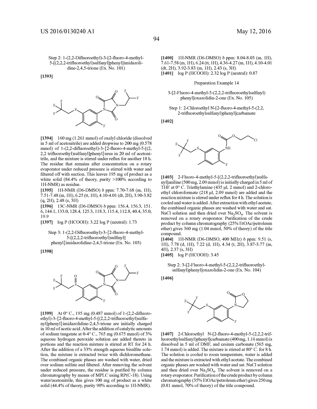 ARYL SULFIDE DERIVATIVES AND ARYL SULFOXIDE DERIVATIVES AS ACARICIDES AND     INSECTICIDES - diagram, schematic, and image 95
