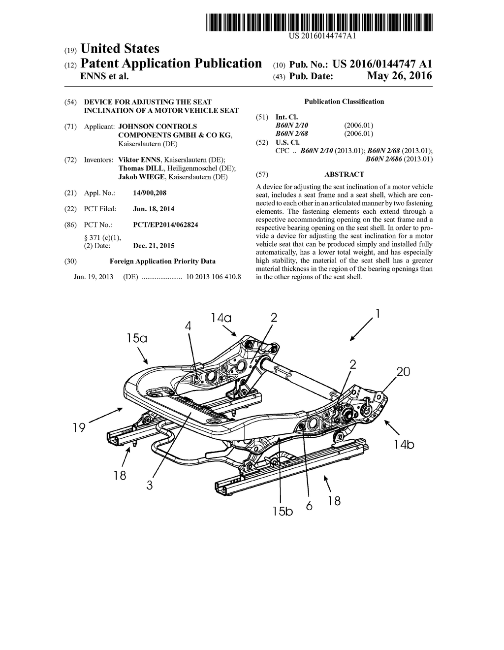 DEVICE FOR ADJUSTING THE SEAT INCLINATION OF A MOTOR VEHICLE SEAT - diagram, schematic, and image 01